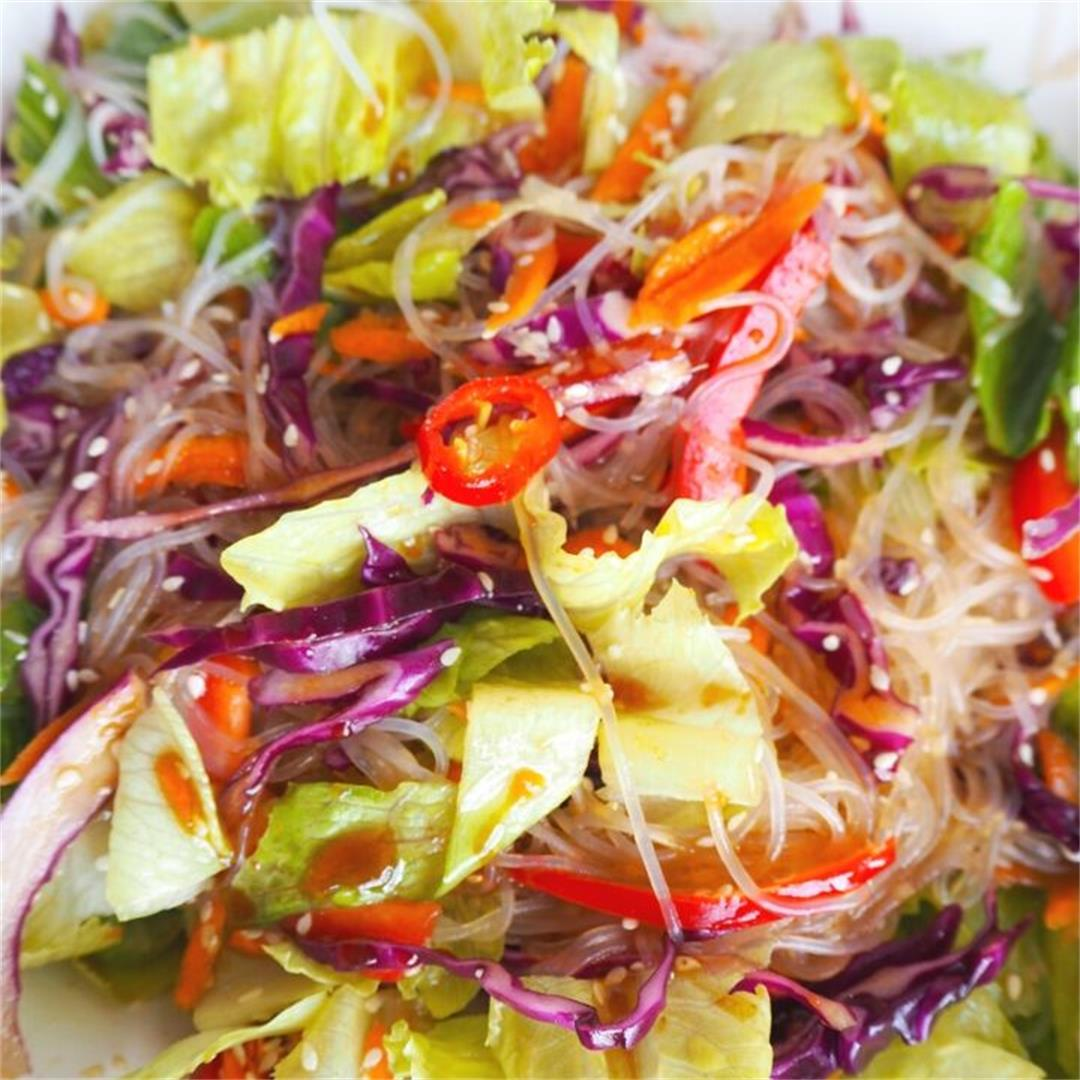 Asian Miso & Sesame Noodle Salad, Japanese style dressing