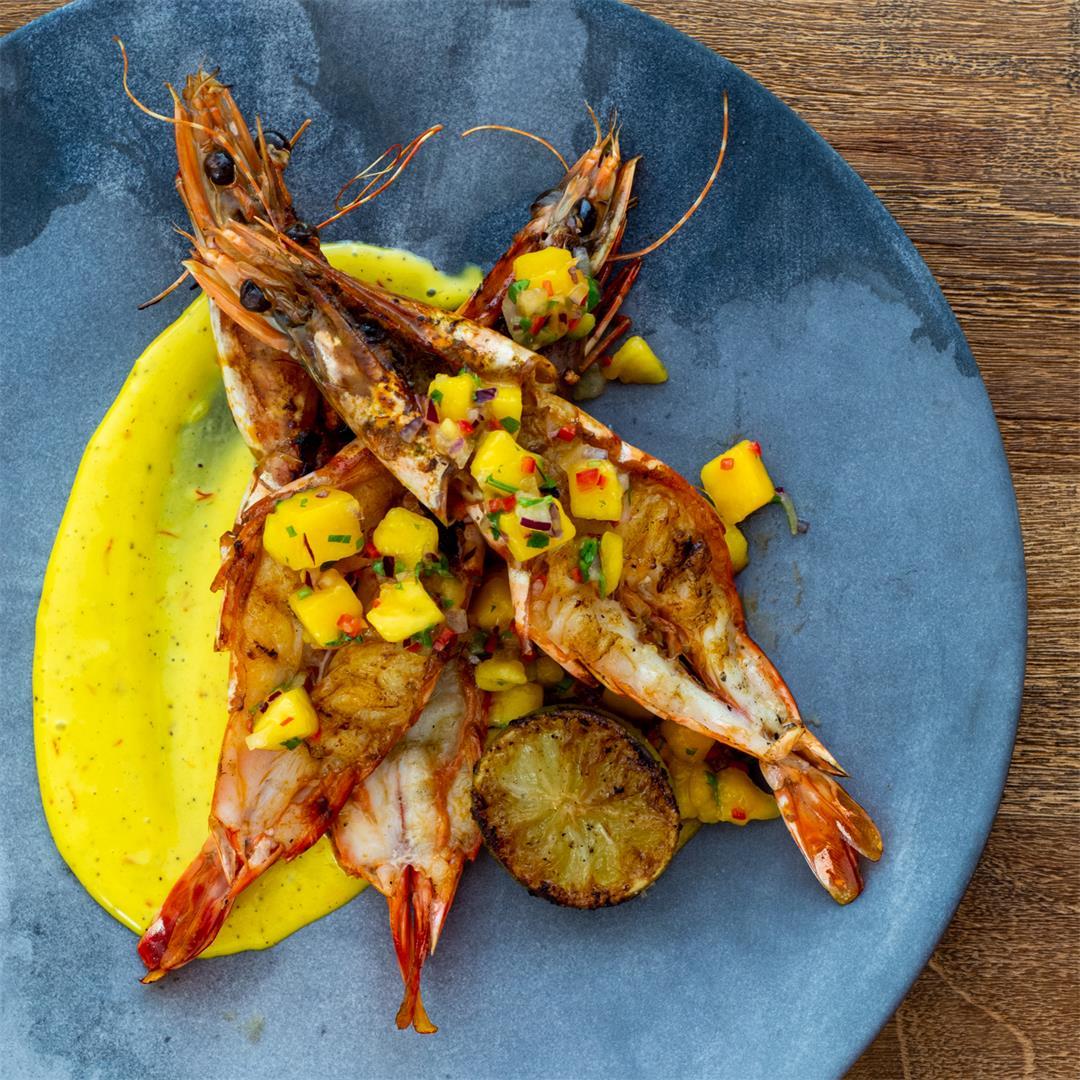 Grilled prawns & saffron aioli