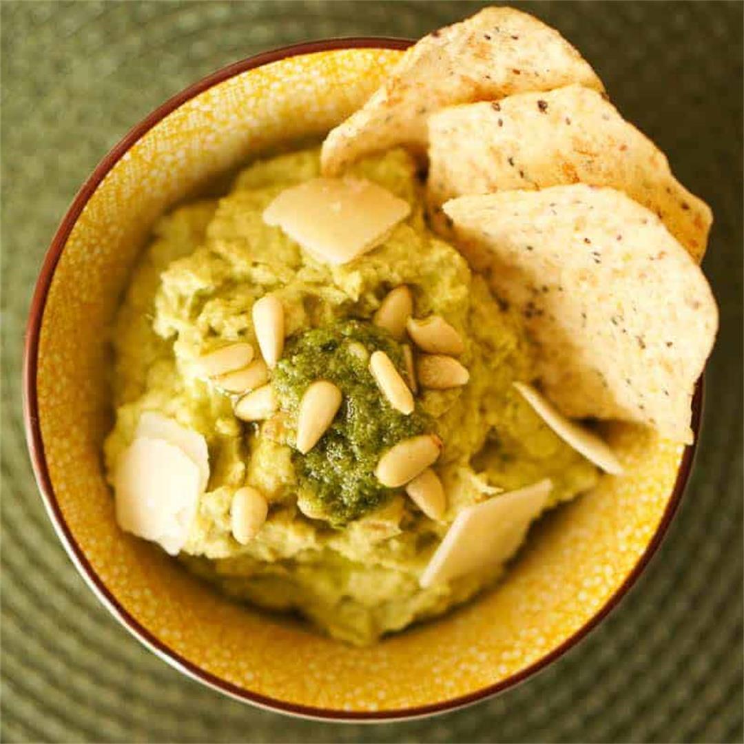 Creamy Basil Pesto Hummus Recipe