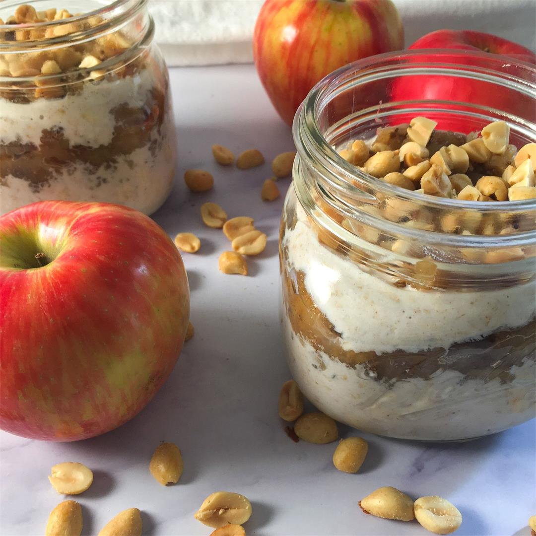 Low Sugar Peach Jam Overnight Oats with Pecans (No Added Sugar)