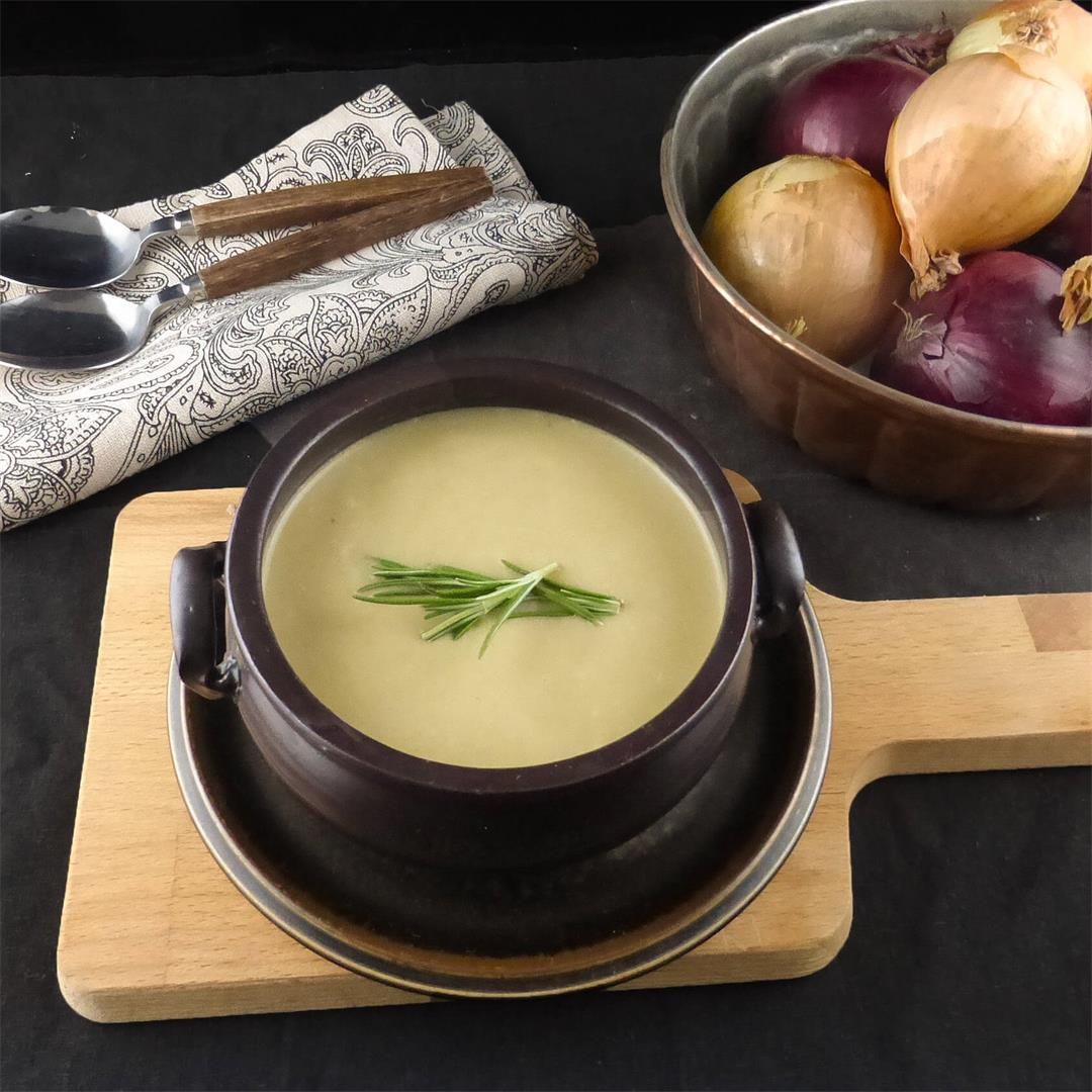 Simple Leek and Red Onion Soup (low fat, no sugar)