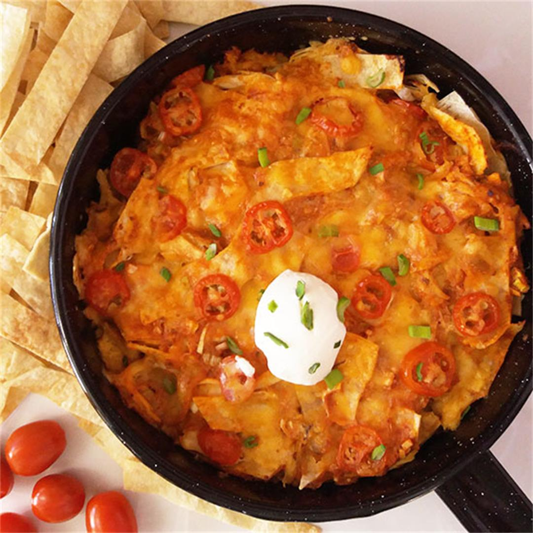 One Pan Chicken Enchilada Bake
