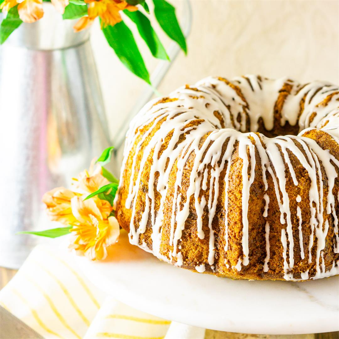Carrot Pound Cake With Cream Cheese Glaze