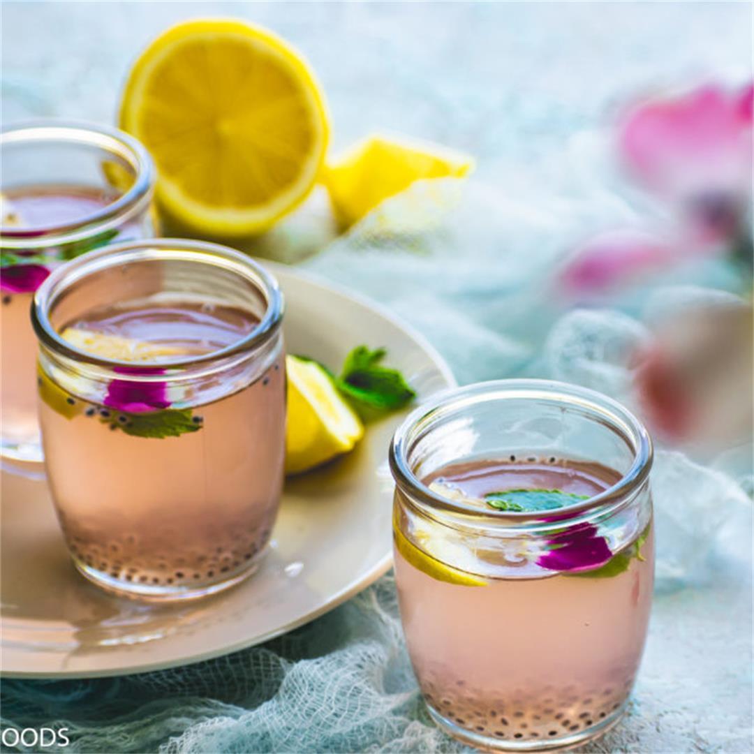 Rose lemonade with basil seeds