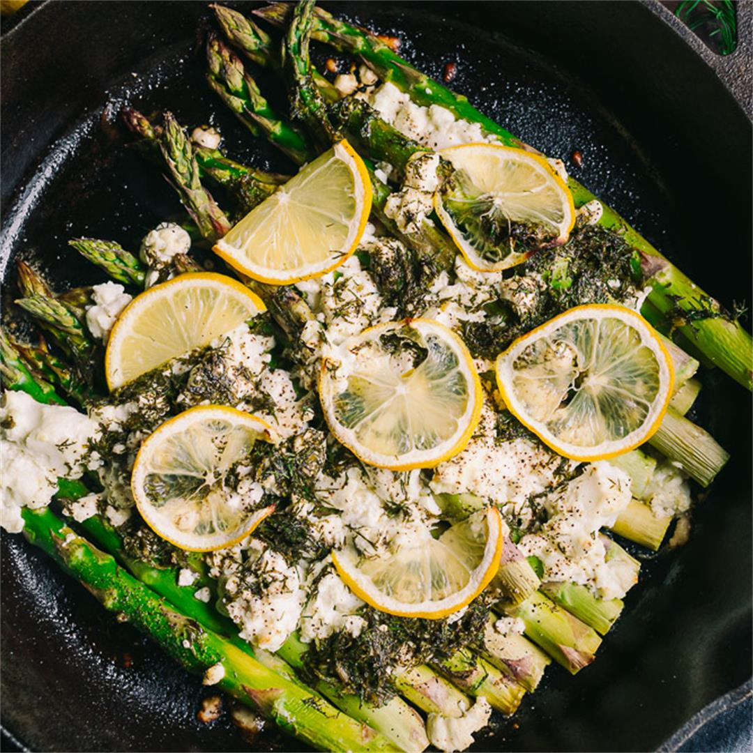 Baked Asparagus with Lemon Dill and Goat Cheese