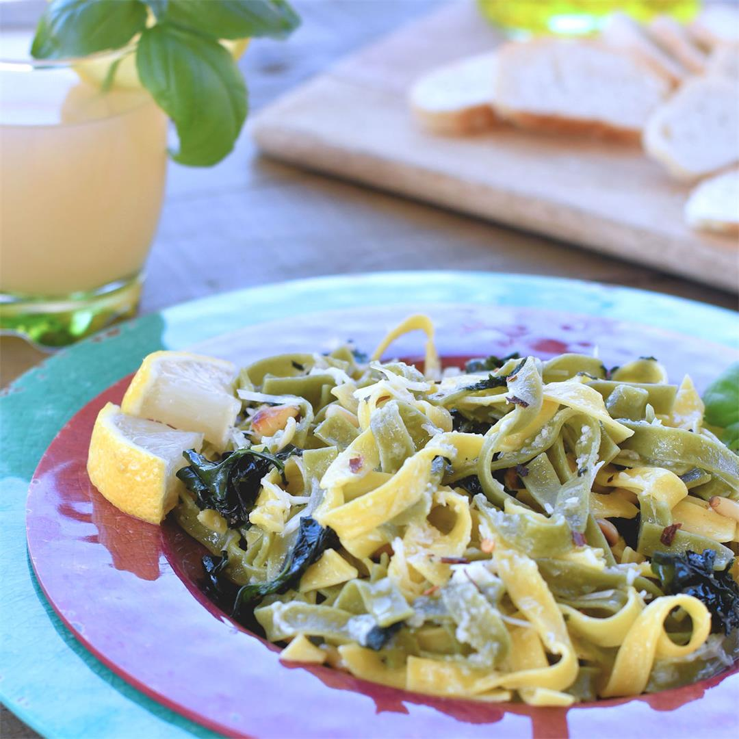 Easy Pasta Dinner with Basil and Pine Nuts