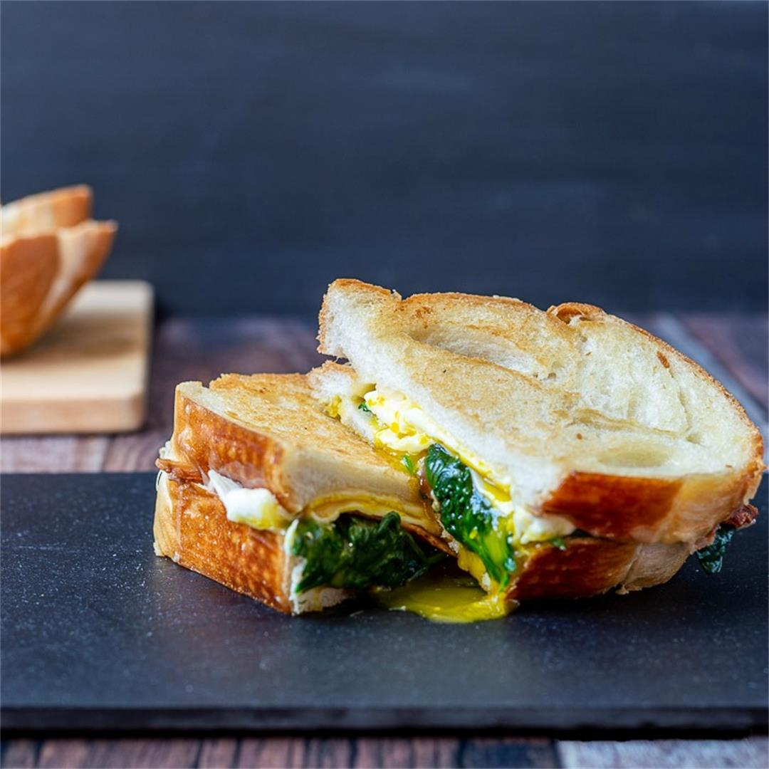 Breakfast Grilled Cheese Sandwich with Egg, Spinach & Bacon