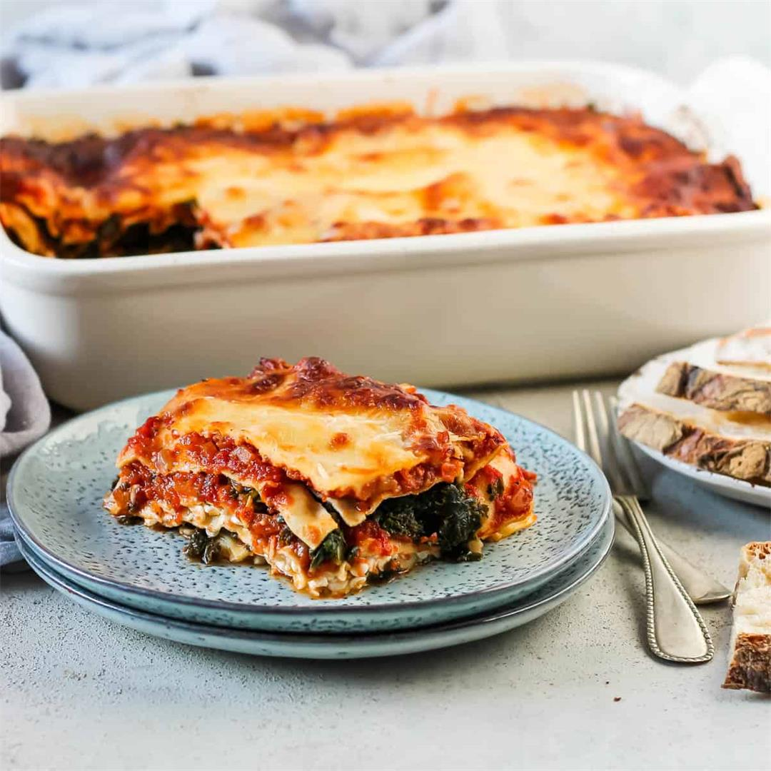 Kale Lasagna with Cottage Cheese