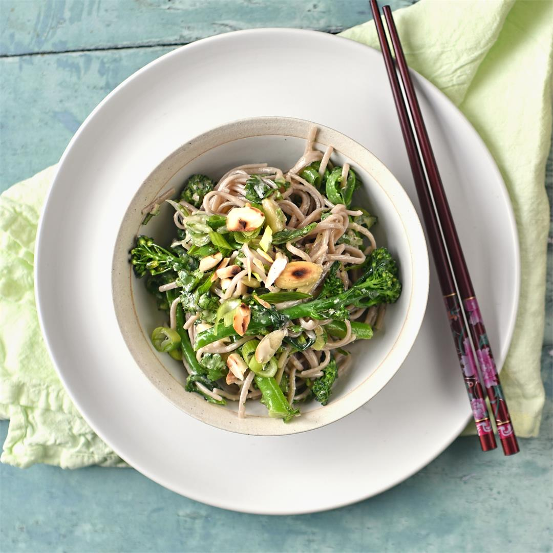 broccoli, almond and buckwheat noodle salad