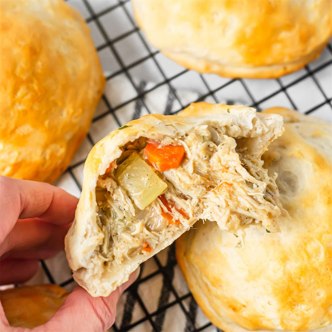Chicken Pot Pie Stuffed Biscuits