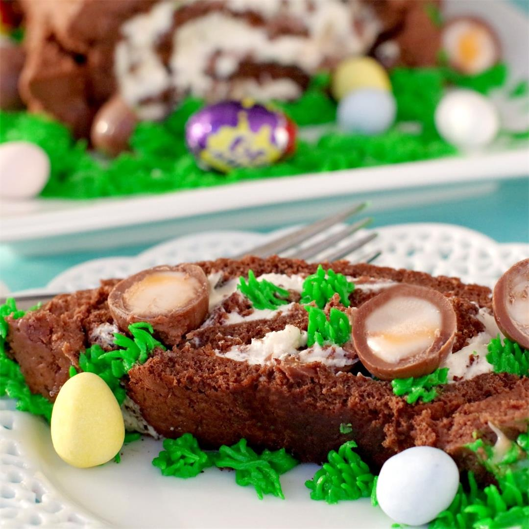 Easter Creme Egg Swiss Roll Cake