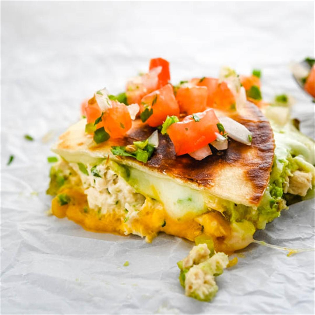 Cheesy Avocado Tuna Melt Quesadillas