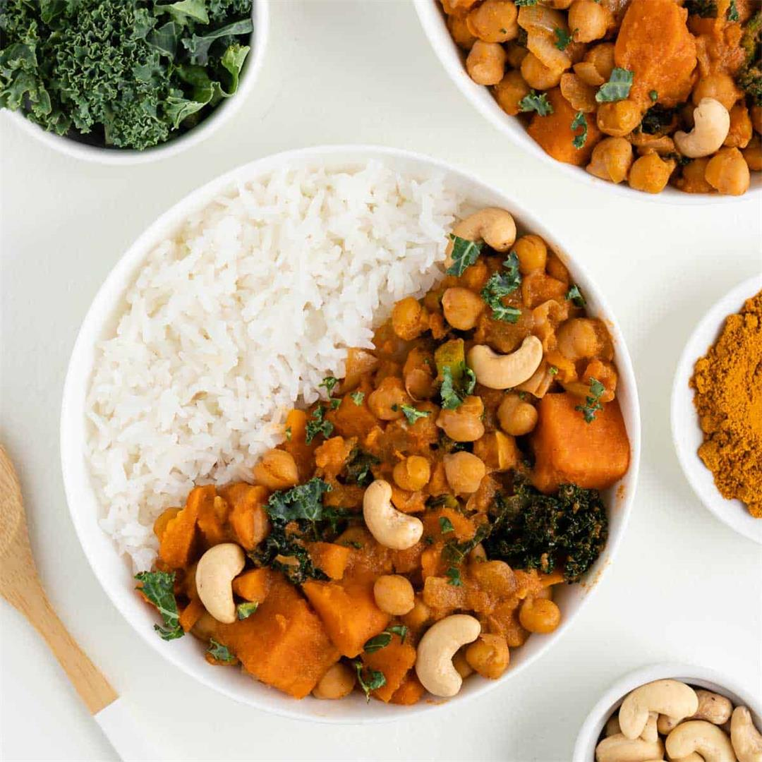 Sweet Potato, Kale, and Chickpea Curry