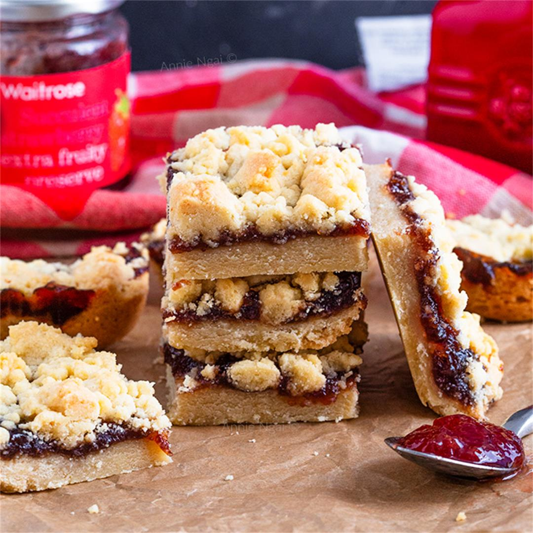 Strawberry Jam Crumble Bars
