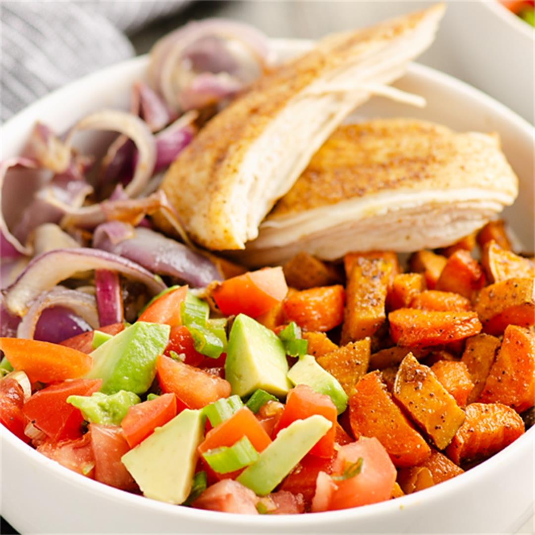 Chipotle Chicken & Southwest Root Vegetable Bowls
