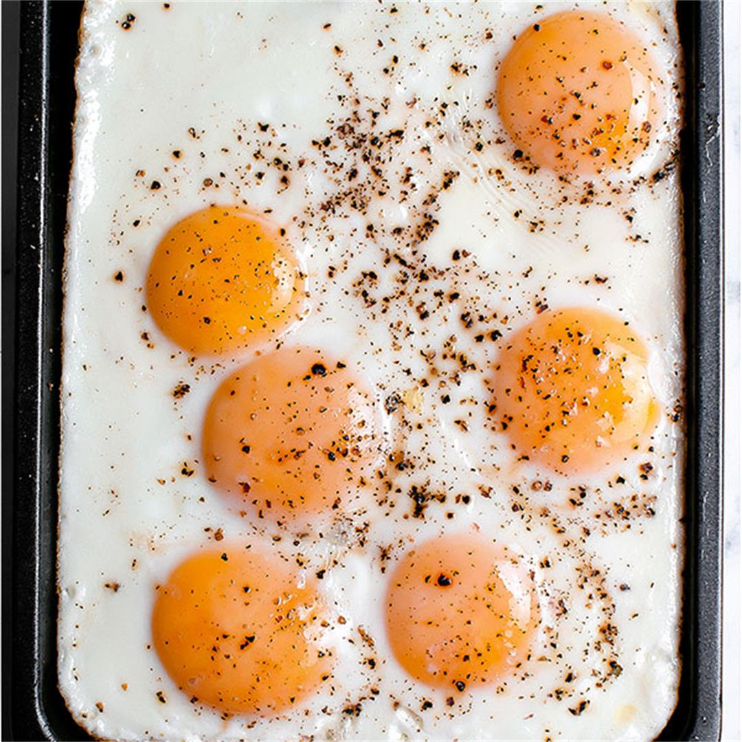 Sheet Pan Eggs (How to Fry Eggs in the Oven)