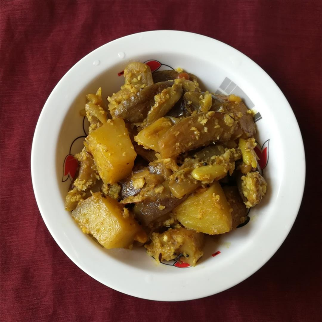 kathirikai urulai kizhangu poriyal, how to make Brinjal Potato