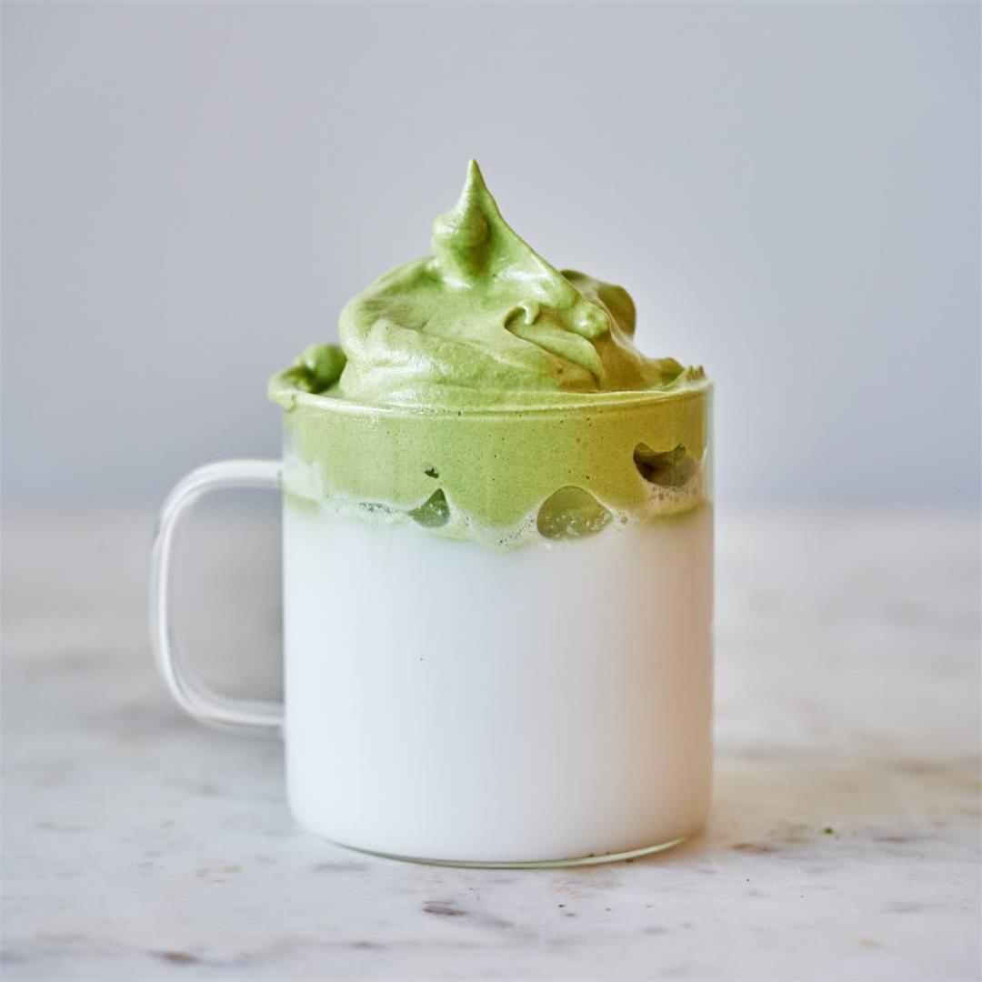 Dalgona Matcha Latte