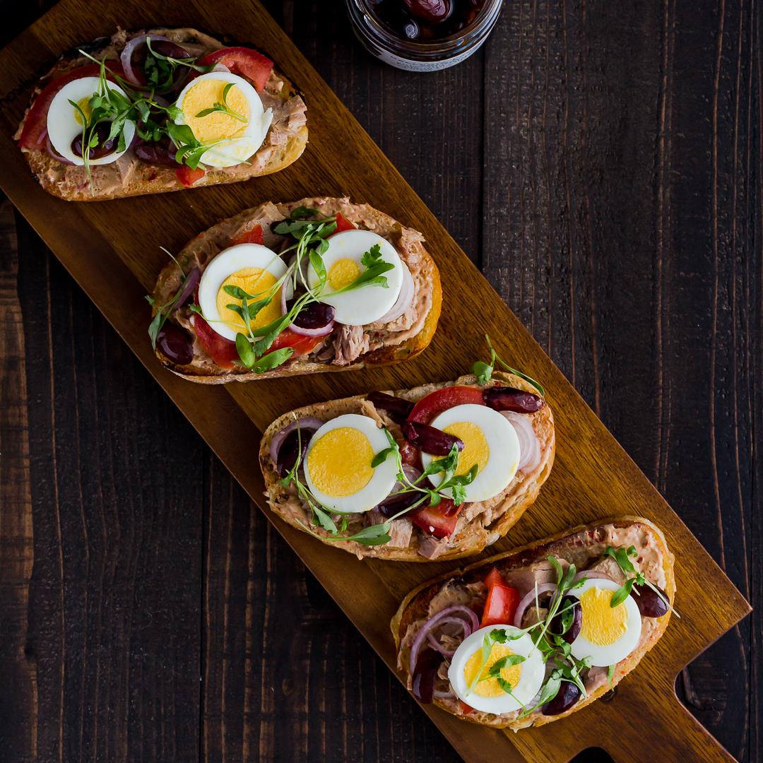 Nicoise Toast with Tuna & Anise Marinated Kalamata Olives