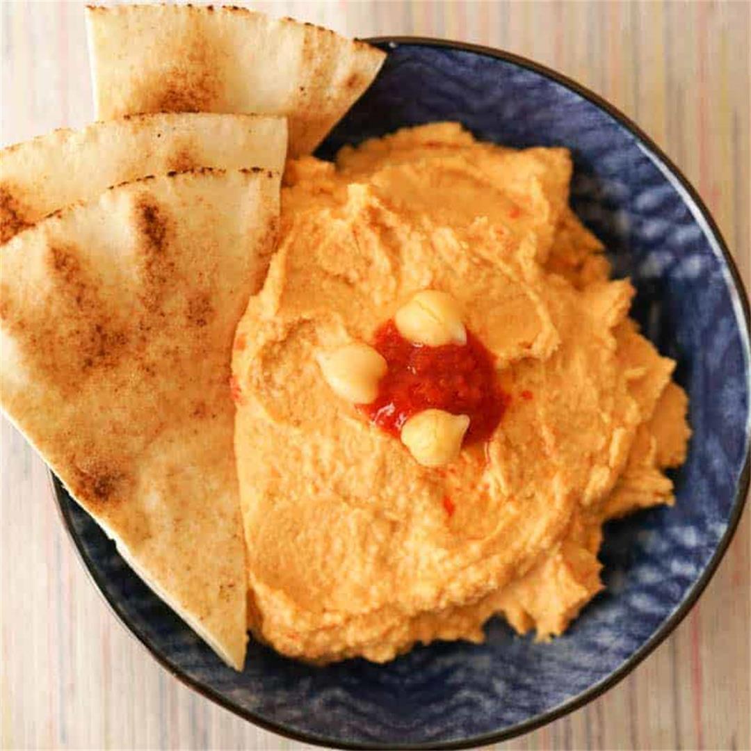 Moroccan Inspired Harissa Hummus Recipe