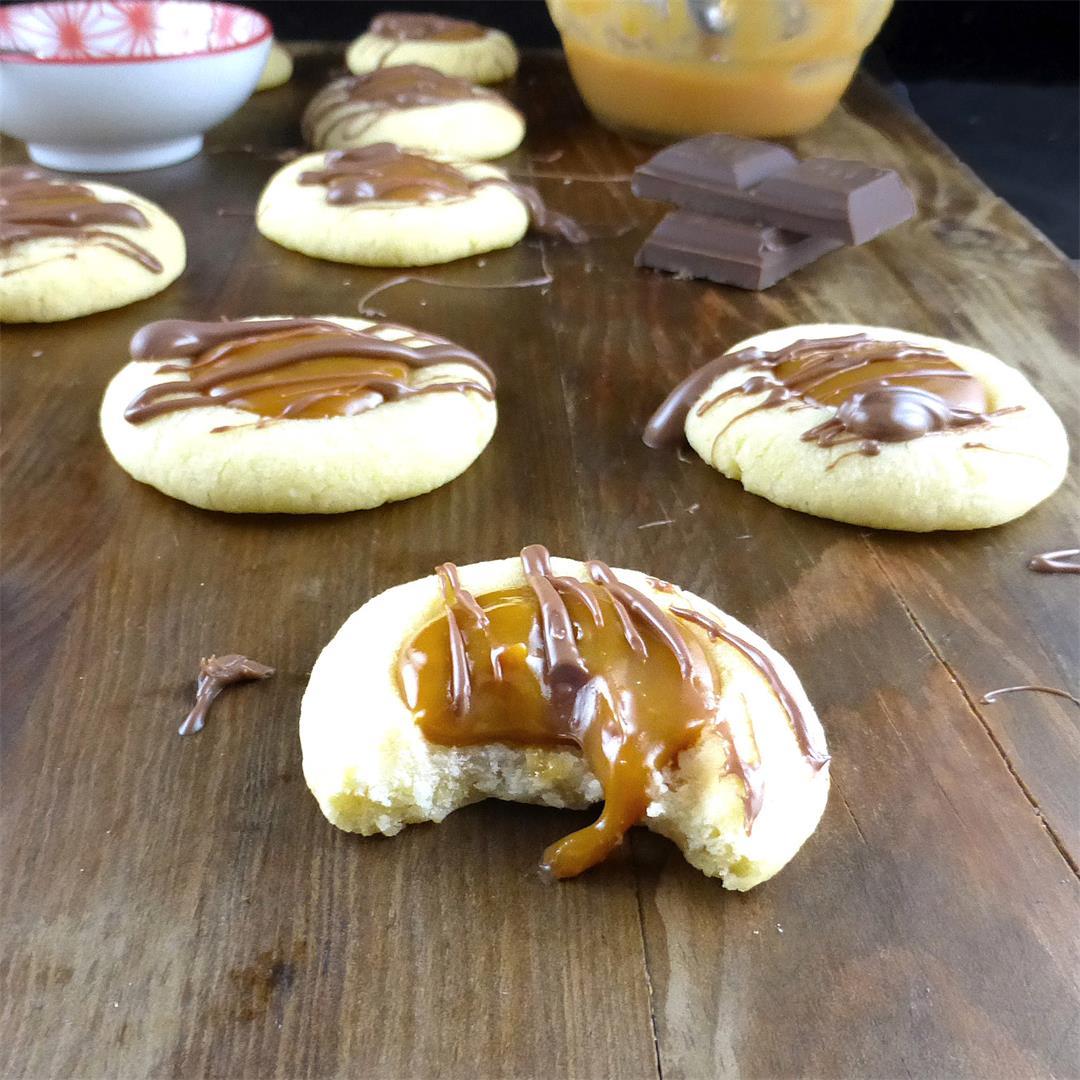 Spelt Caramel Thumbprint Cookies (small batch)