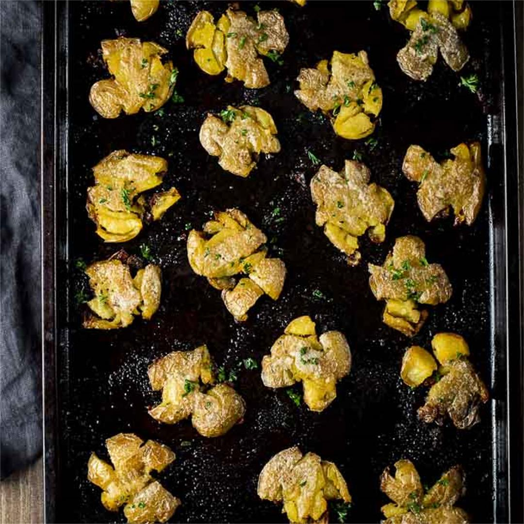 Duck Fat Crispy Smashed Potatoes