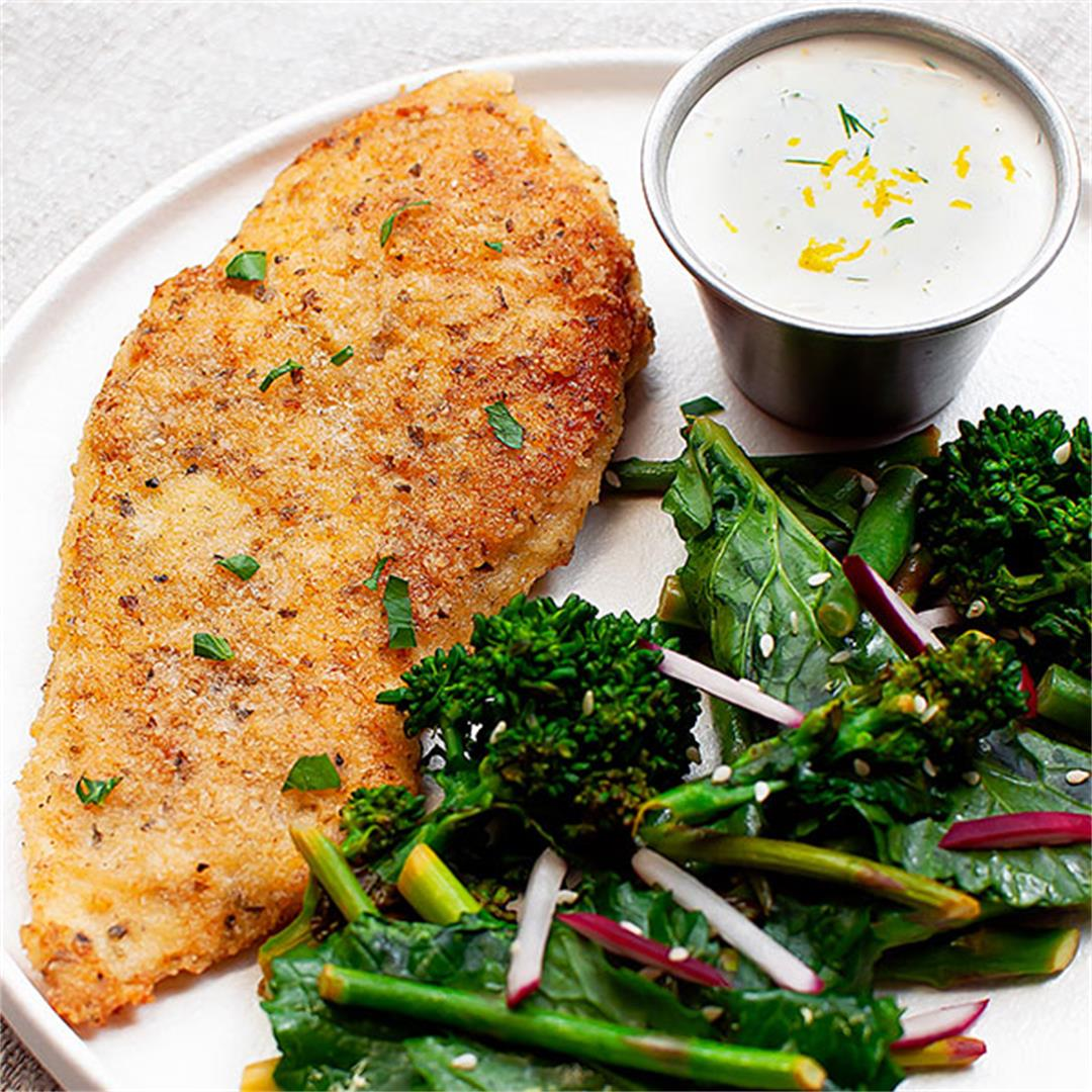 Keto Parmesan Crusted Chicken Breast with Dill Sauce