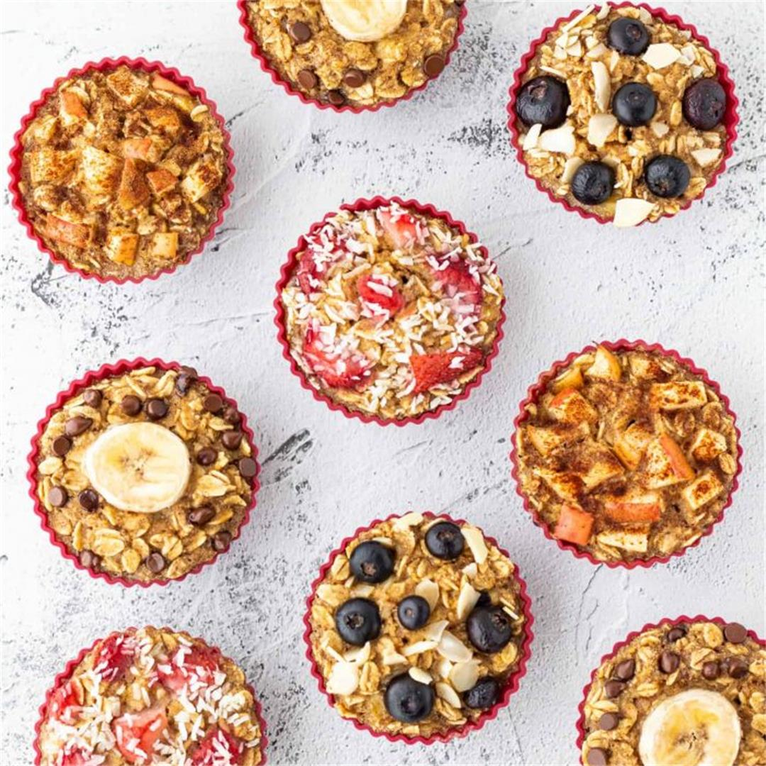 Healthy Oatmeal Muffins {4 Different Ways}