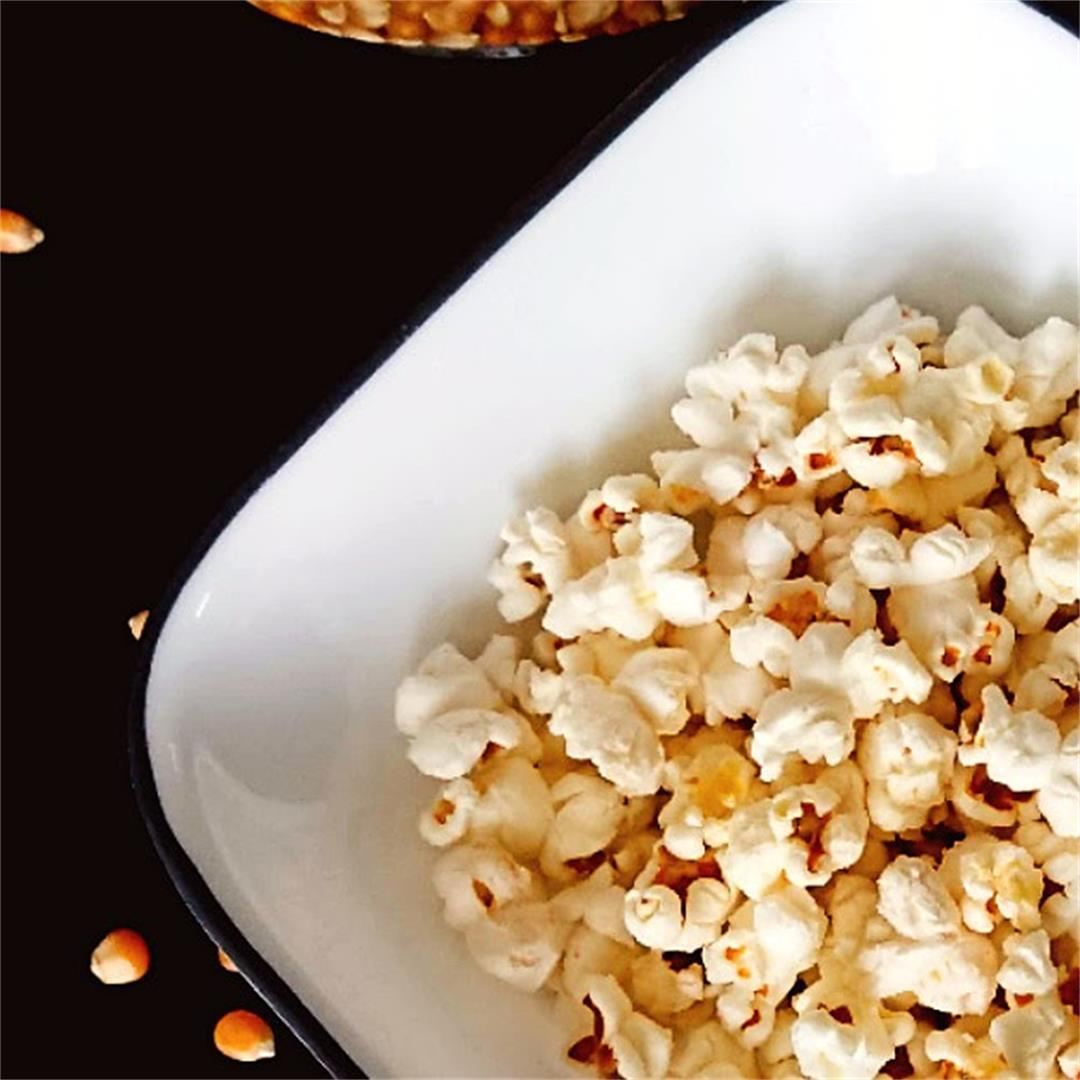 Homemade 3 Ingredients No Butter Stove top Popcorn