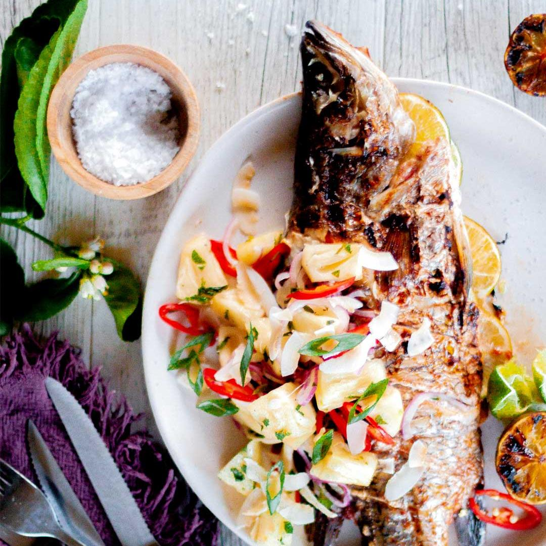 Grilled Sriracha Barramundi with Tequila Pineapple Salsa and Fe