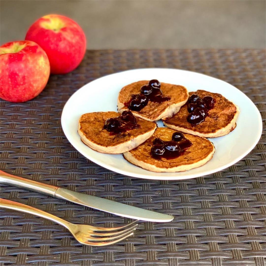 Blueberry Banana Pancakes With Blueberry Sauce (Vegan)