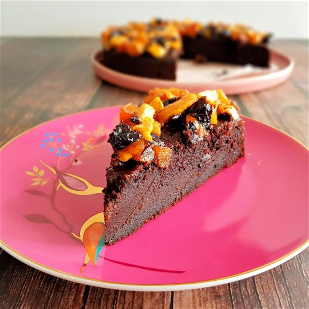 midnight cake with fruit salad topping