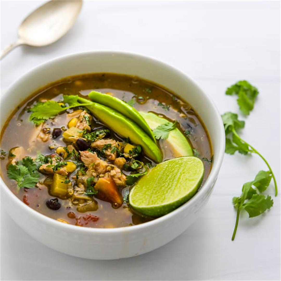 Southwestern Chicken Taco Soup with Black Beans