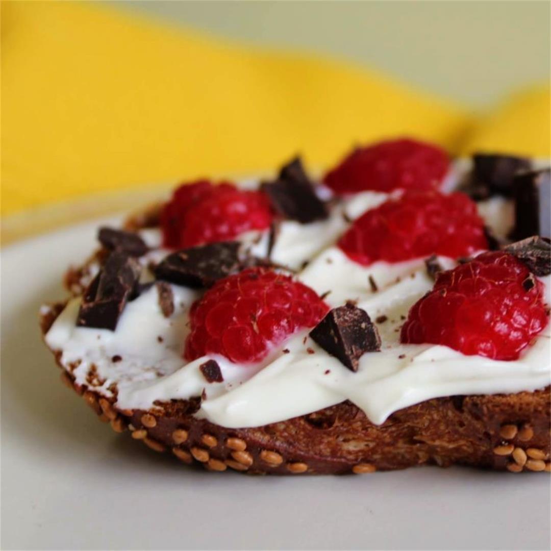 Yogurt Toast with Raspberries and Dark Chocolate