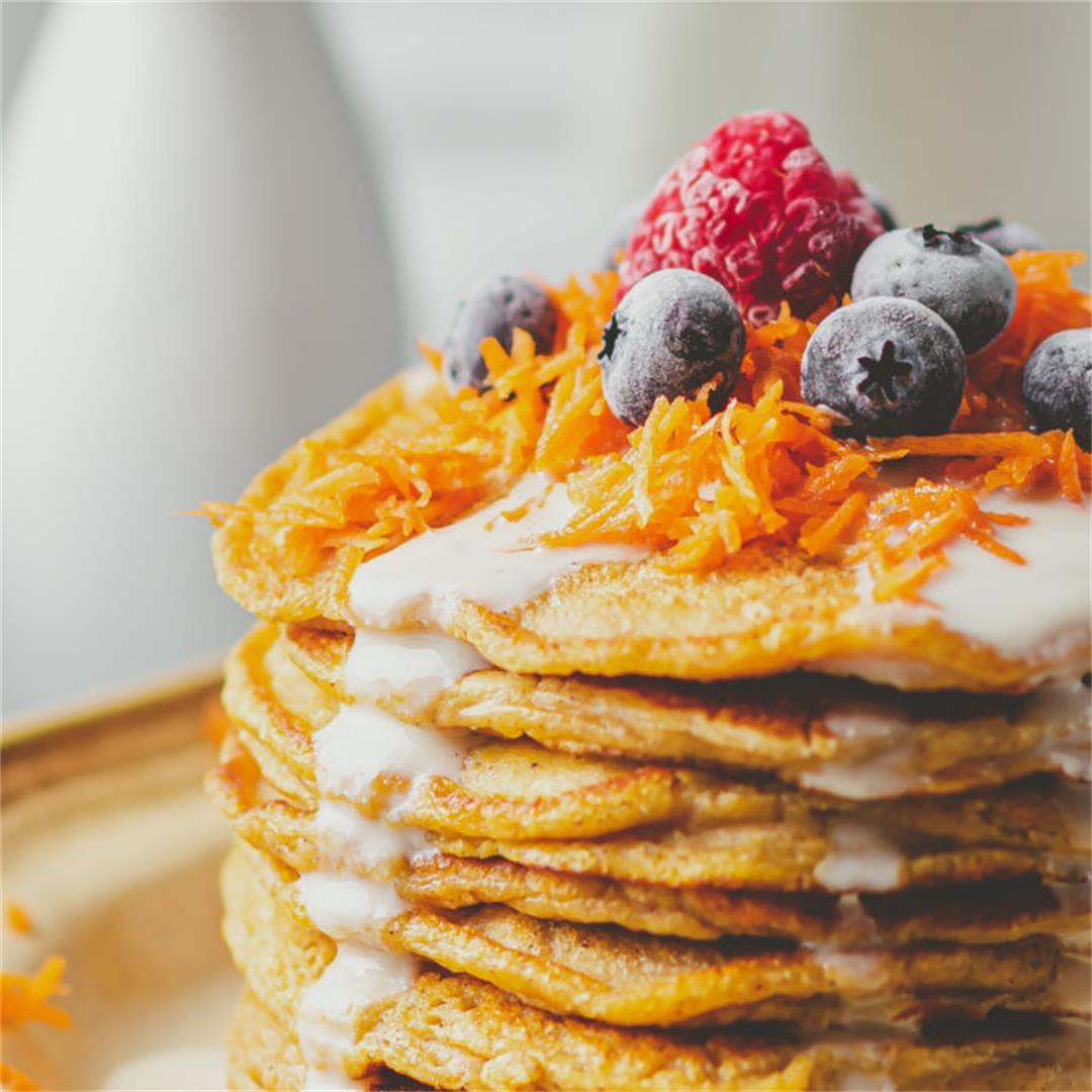 Carrot Cake Pancakes With Yogurt Honey Syrup