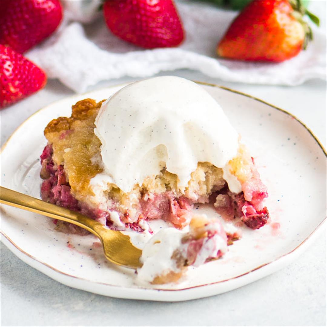 Strawberry Dump Cake (from scratch!)