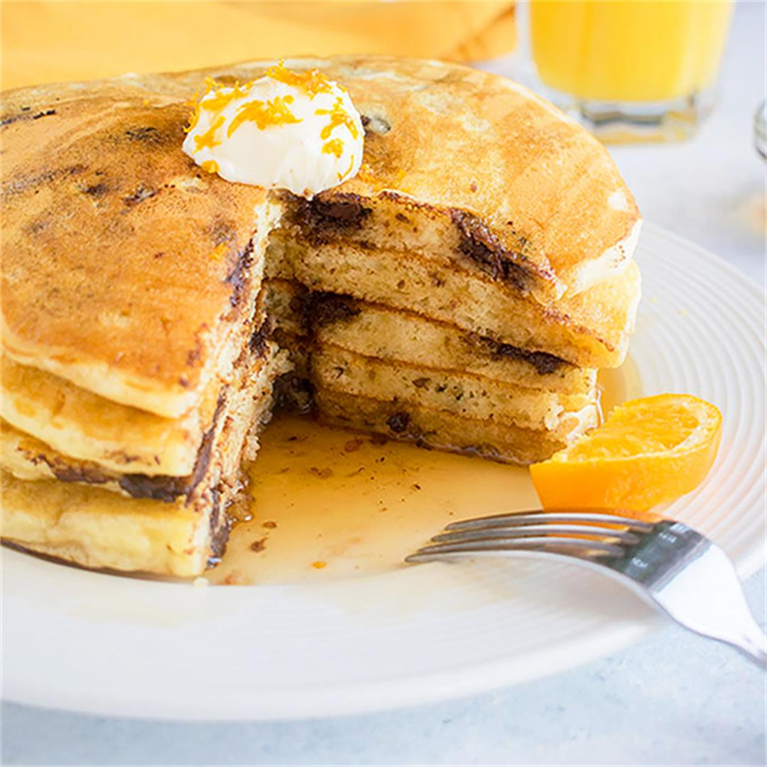 Chocolate Chip Pancakes with Orange Zest
