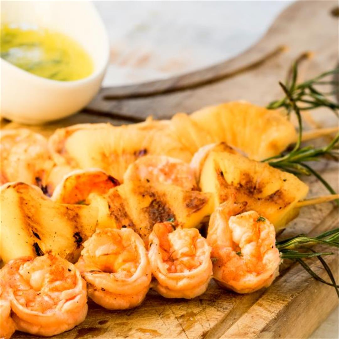 Shrimp on Rosemary Skewers with Rum-Soaked Pineapple