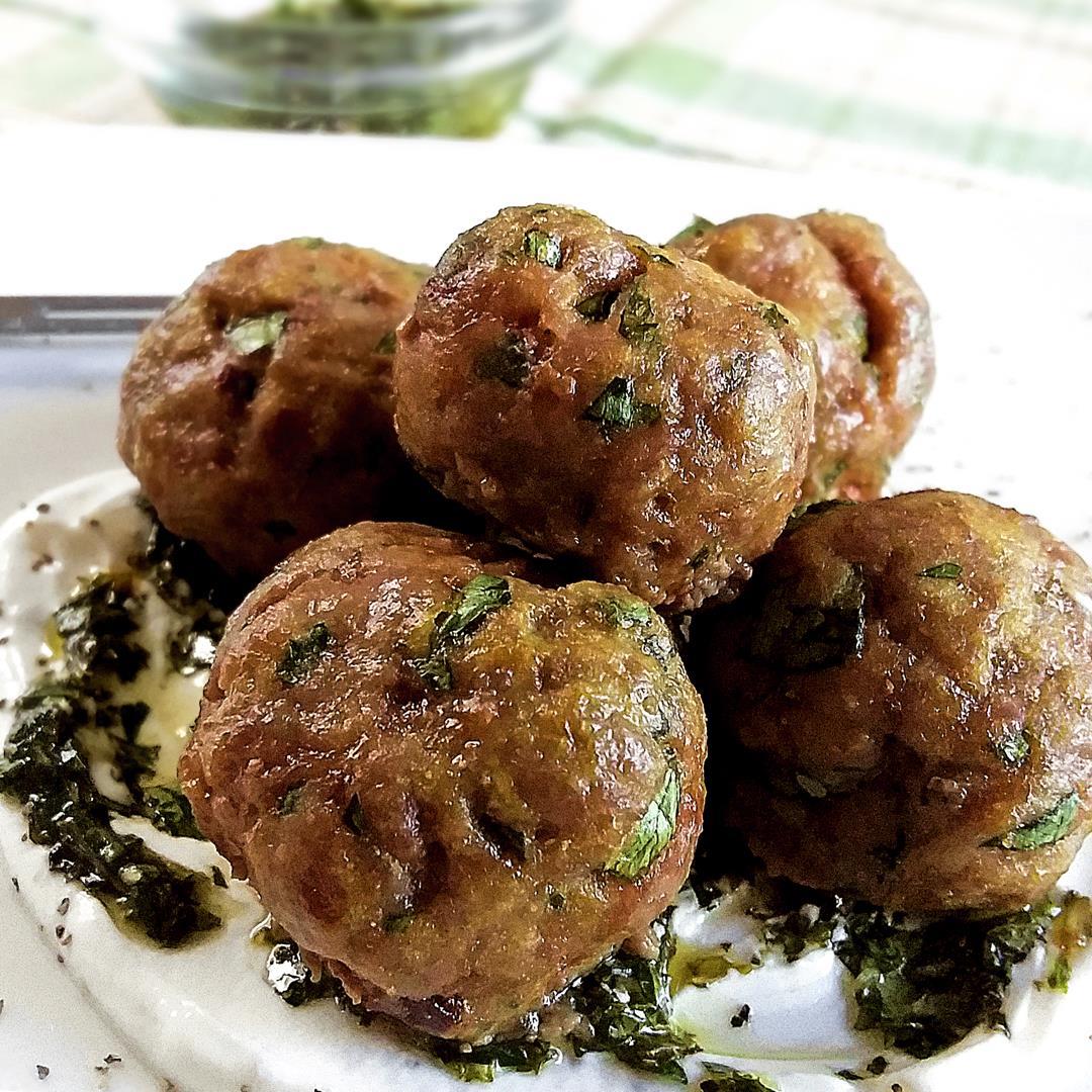 Lamb Meatballs with Mint Pesto and Sweet Yogurt Sauce