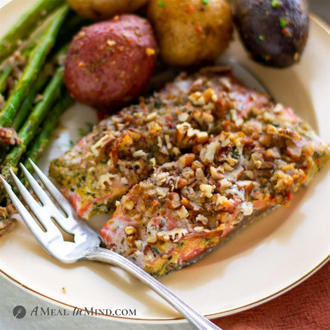 Crusted Pecan-Mustard Salmon with Asparagus