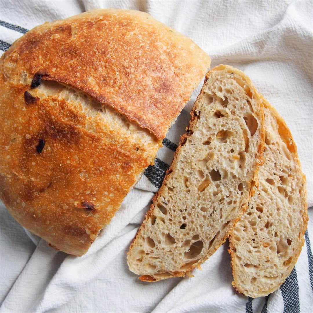 Sage and caramelized onion sourdough bread