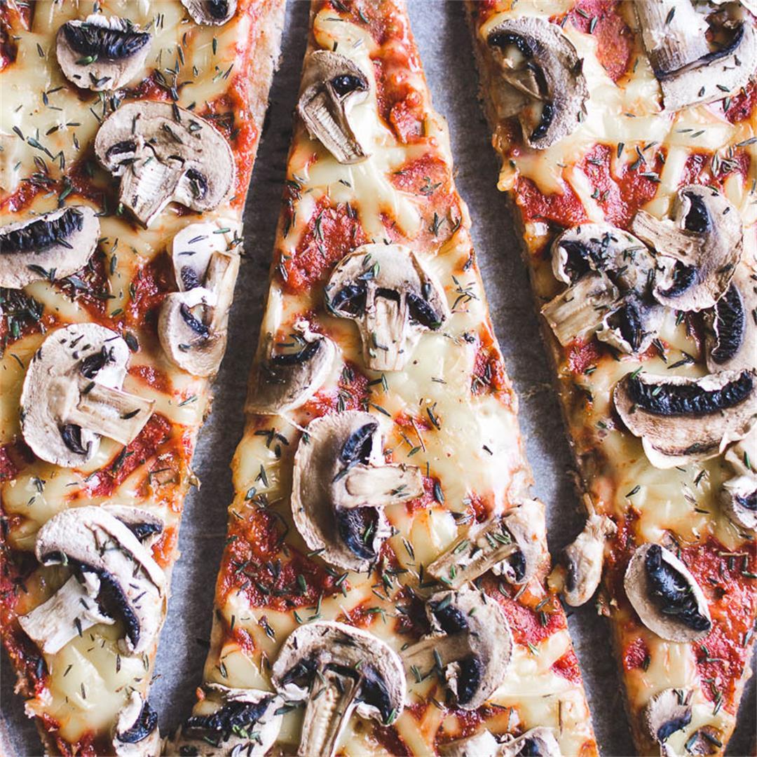 Funghi pizza w/ buckwheat crust