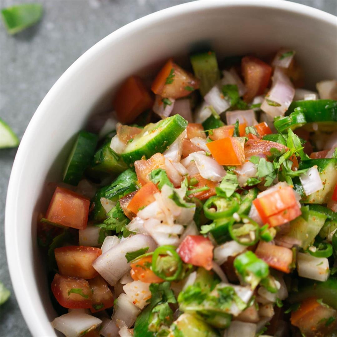 Indian Kachumber Side Salad (Tomato Onion Cucumber Salad)