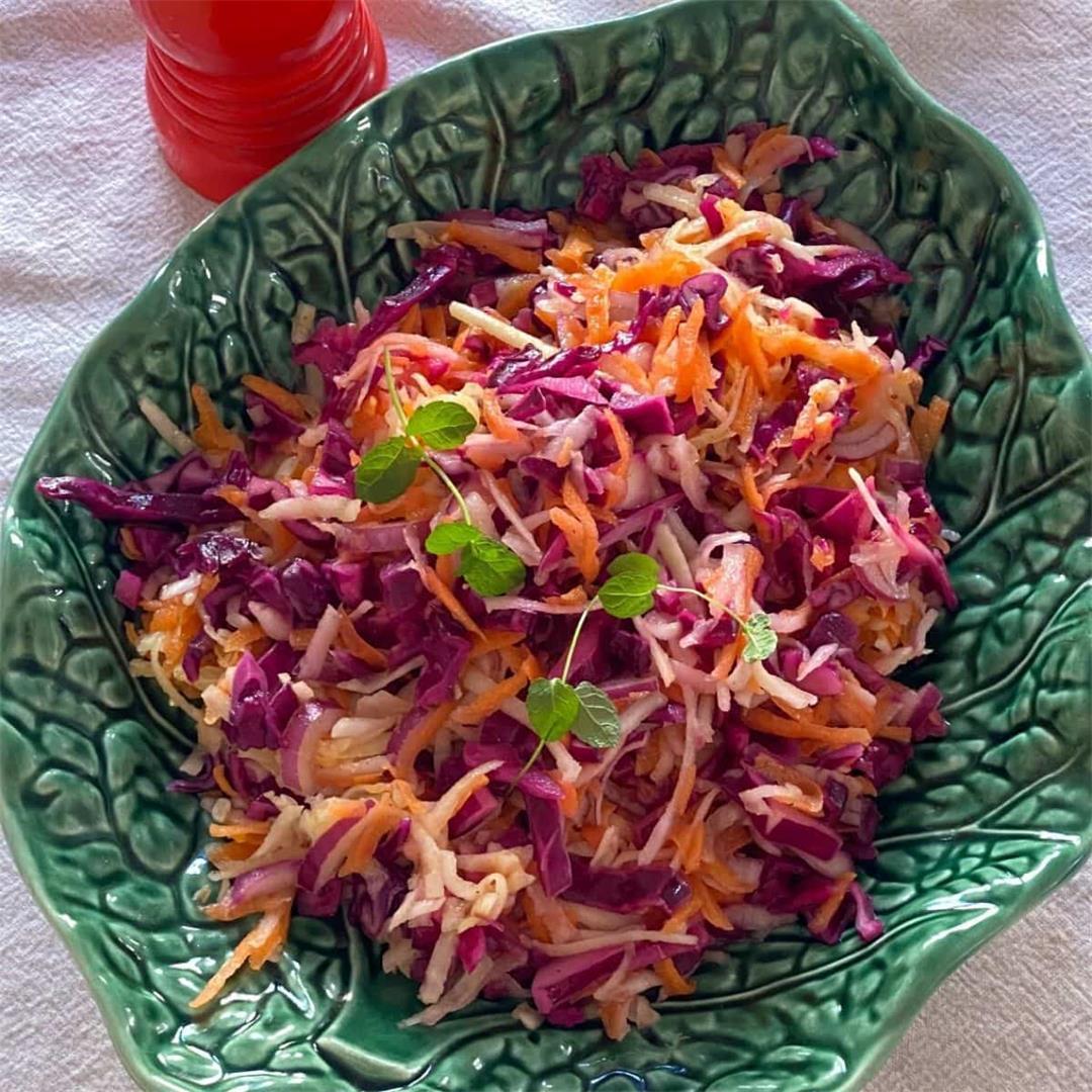 Kohlrabi, Carrot & Red Cabbage Slaw