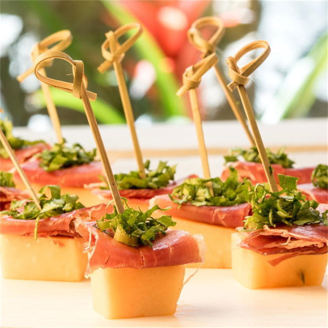 Melon & Prosciutto Skewers With Greens