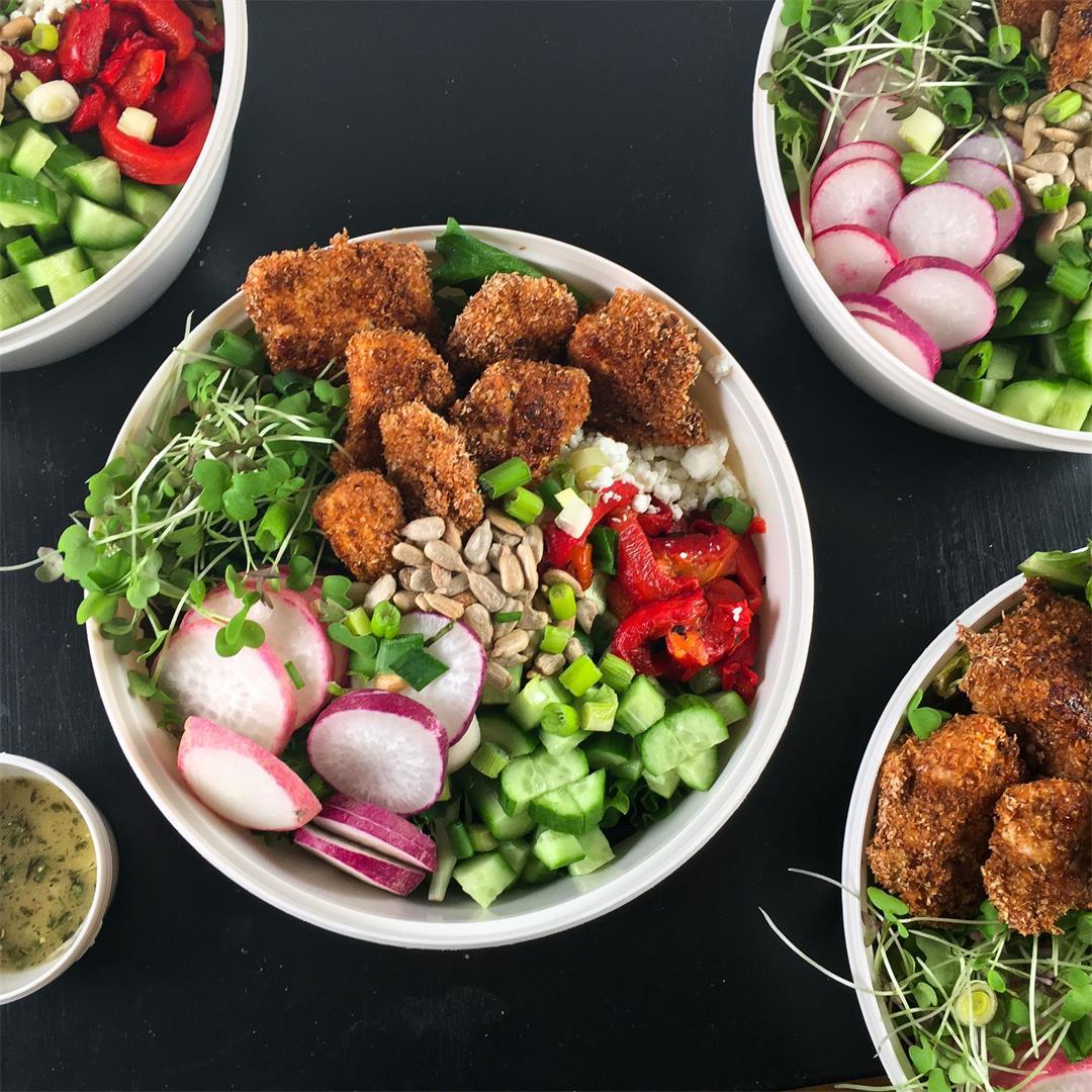 Baked Popcorn Chicken Salad Bowl