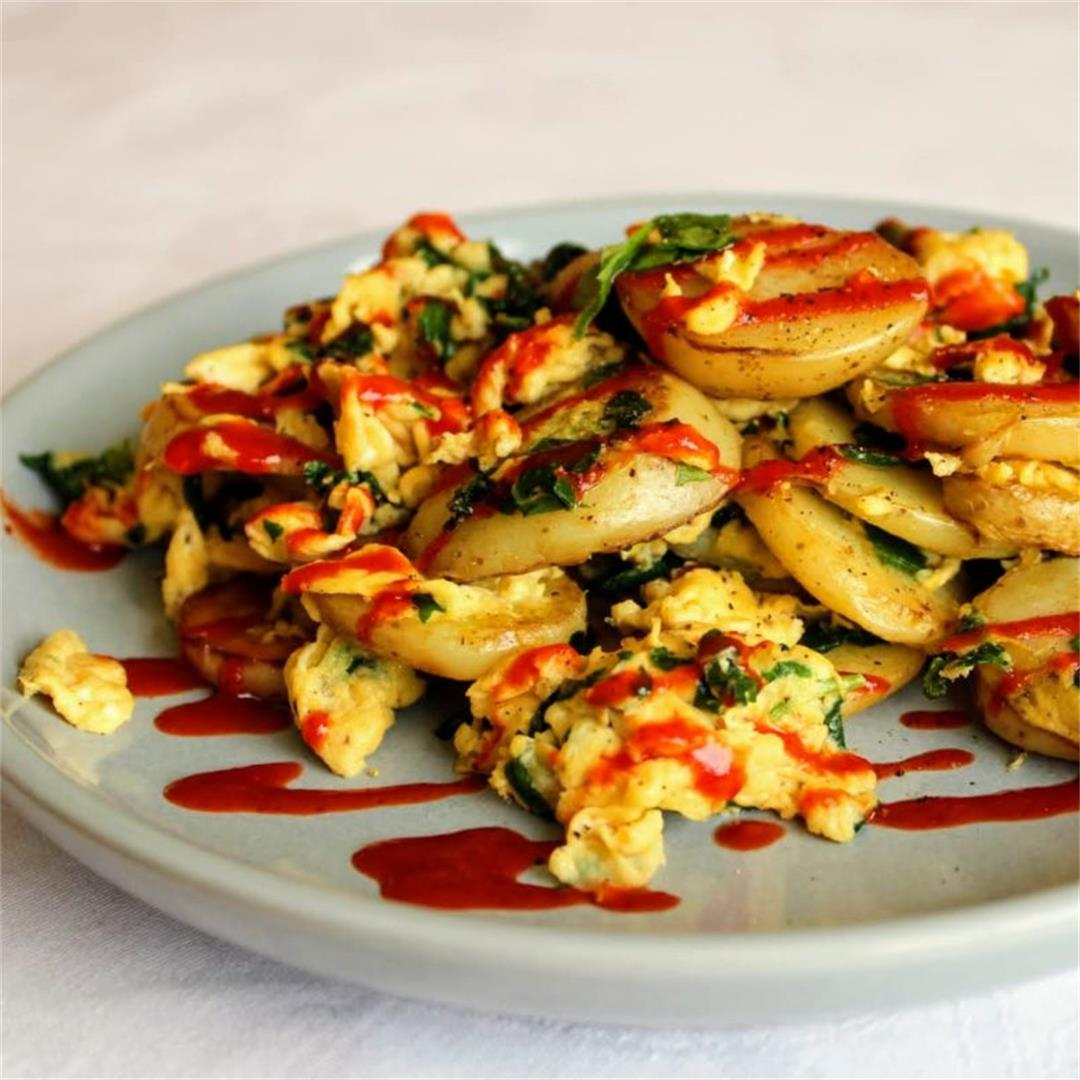 Potato and Eggs with Spinach and Sriracha