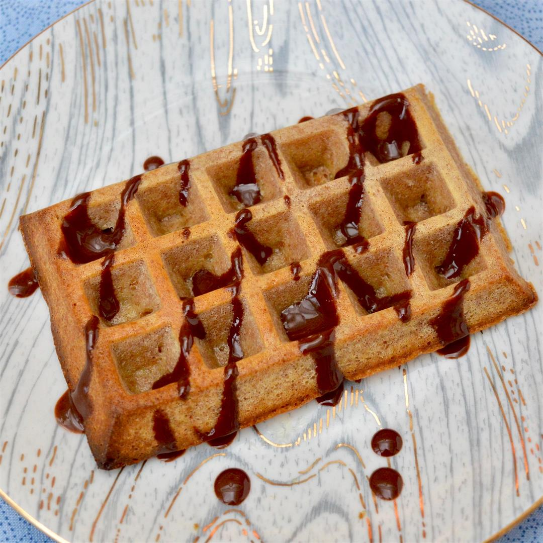 Oven Baked Waffles with Maple Chocolate Sauce