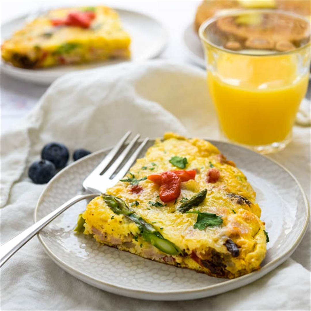 Veggie Ham and Cheese Frittata with Asparagus and Sun Dried Tom