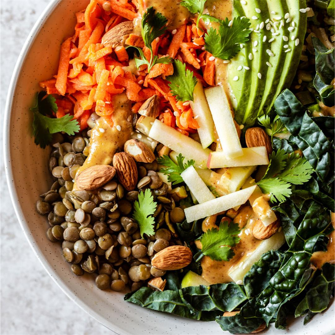 Nourishing Kale and Lentil Bowl with Pickled Carrots and Thai A